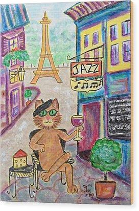 Jazz Cat Wood Print by Diane Pape