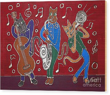 Jazz Cat Trio Wood Print by Cynthia Snyder