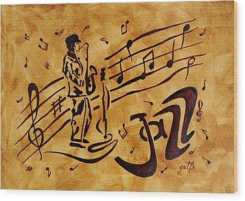 Jazz Coffee Painting Wood Print by Georgeta  Blanaru