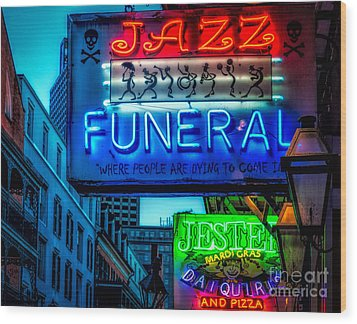 Jazz Funeral And Jester On Bourbon St. Wood Print