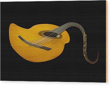 Jazz Guitar 2 Wood Print by Debra and Dave Vanderlaan