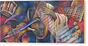 Jazz In Space Wood Print by Ka-Son Reeves