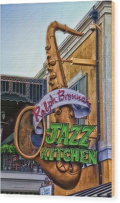 Jazz Kitchen Signage Downtown Disneyland Wood Print by Thomas Woolworth