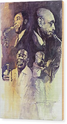 Jazz Legends Parker Gillespie Armstrong  Wood Print by Yuriy  Shevchuk
