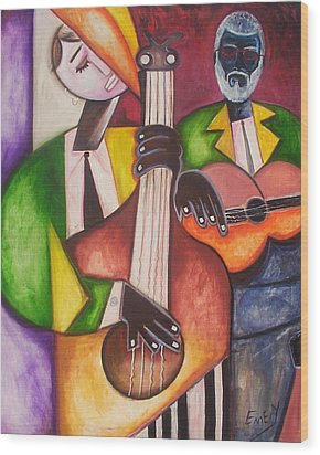 Wood Print featuring the painting Jazz Men by Emery Franklin