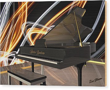 Jazz Piano Bar Wood Print by Louis Ferreira
