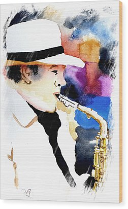 Wood Print featuring the painting Jazz Player by Steven Ponsford