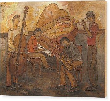 Jazz Quartet Wood Print by Anita Burgermeister
