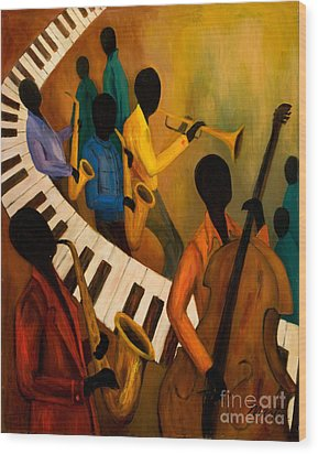Jazz Quintet And Friends Wood Print by Larry Martin