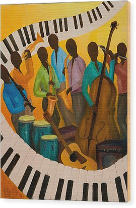 Jazz Septet Wood Print by Larry Martin