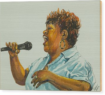 Jazz Singer Wood Print by Sharon Sorrels