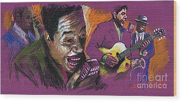 Jazz Songer Wood Print by Yuriy  Shevchuk