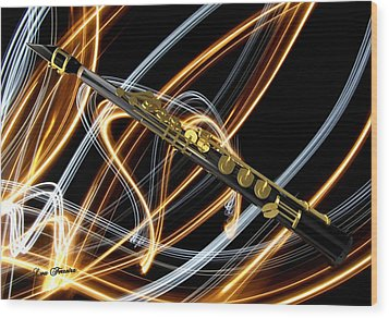 Jazz Soprano Sax Wood Print by Louis Ferreira