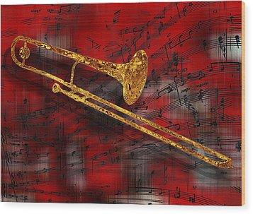 Jazz Trombone Wood Print by Jack Zulli