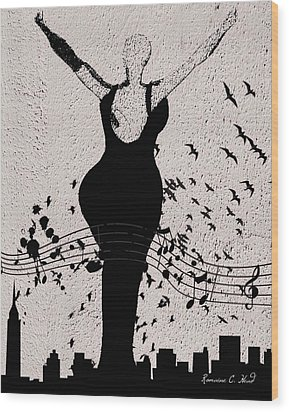 Jazzinthesky Wood Print by Romaine Head
