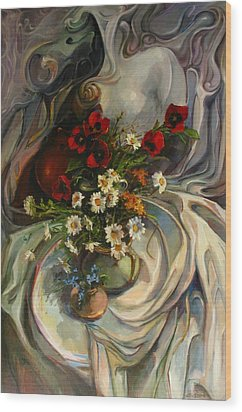 Wood Print featuring the painting Jazzy Still-life by Tigran Ghulyan