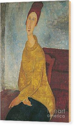 Jeanne Hebuterne In Yellow Sweater Wood Print by Amedeo Modigliani