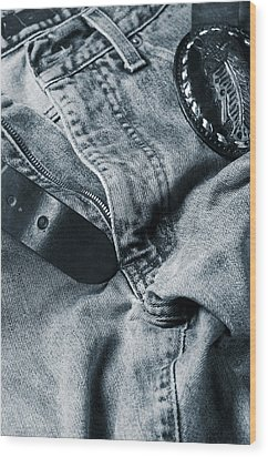 Jeans And Denim In Blue Wood Print by Christian Lagereek