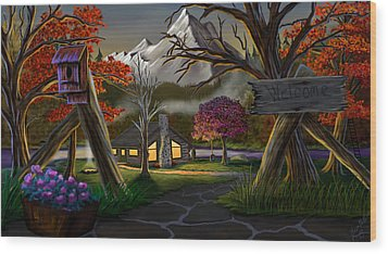 Jeans Cabin Welcome Wood Print by Brien Miller