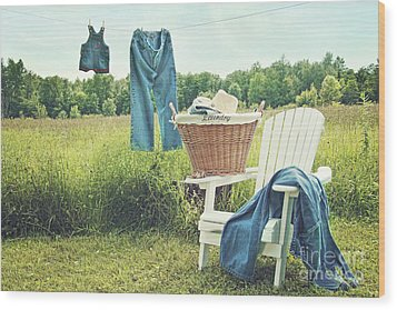 Jeans Hanging On Clothesline On A Summer Afternoon Wood Print by Sandra Cunningham