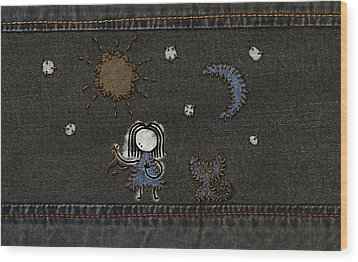 Jeans Stitches Wood Print by Gianfranco Weiss