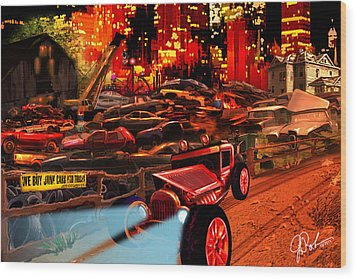 Jed Cooper Junk Yard Wood Print by Gerry Robins