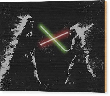 Jedi Duel Wood Print by George Pedro