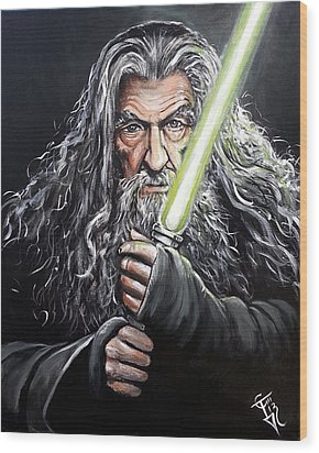 Jedi Master Gandalf Wood Print