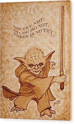 Wood Print featuring the painting Jedi Yoda Wisdom by Georgeta  Blanaru