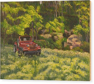 Jeep By The Bluff Wood Print by Janet Felts