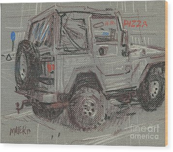 Wood Print featuring the painting Jeep With Pizza by Donald Maier