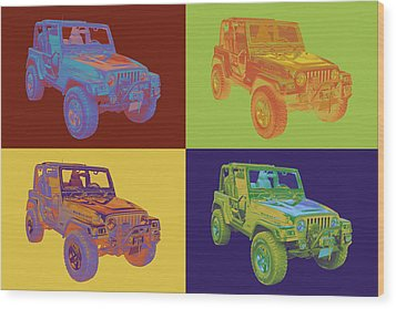 Jeep Wrangler Rubicon Pop Art Wood Print