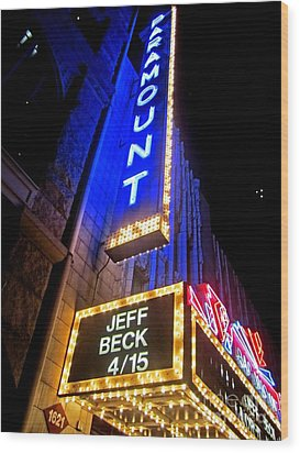 Jeff Beck At The Paramount Wood Print by Fiona Kennard