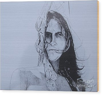 Wood Print featuring the drawing Jeff by Stuart Engel