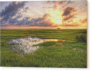 Jeffers Sunset Reflection Wood Print by John Loreaux