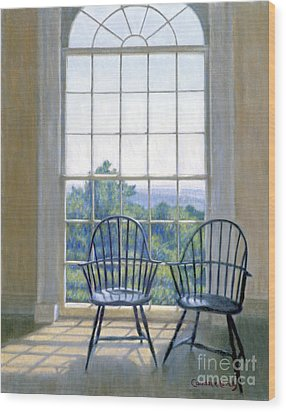 Jefferson And A Friend At Monticello Wood Print by Candace Lovely