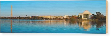 Jefferson Memorial And Washington Wood Print by Panoramic Images