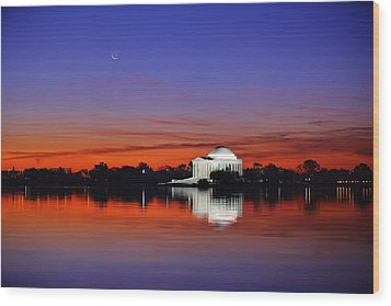 Jefferson Memorial At Dawn Wood Print by Metro DC Photography