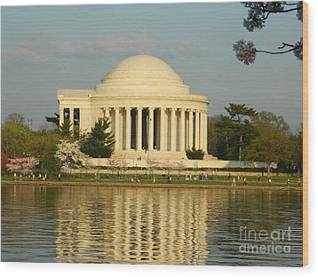 Jefferson Memorial At Sunset Wood Print by Emmy Vickers