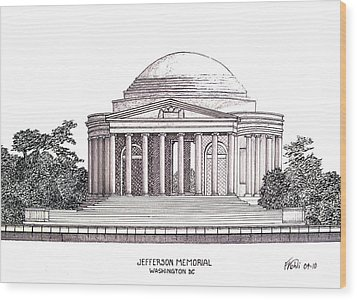 Jefferson Memorial Wood Print by Frederic Kohli