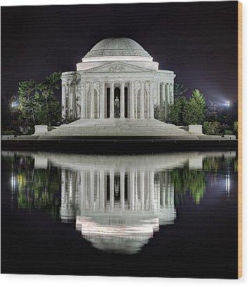Jefferson Memorial - Night Reflection Wood Print