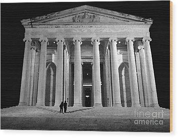 Jefferson Monument At Night Wood Print by Lane Erickson