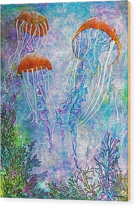 Jellies Wood Print by Janet Immordino