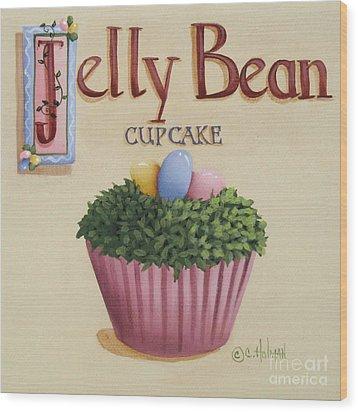 Jelly Bean Cupcake Wood Print by Catherine Holman