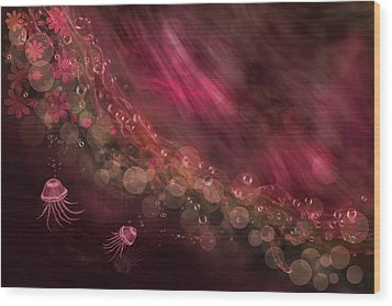 Jellyfish And Abstract In Fuchsia Wood Print