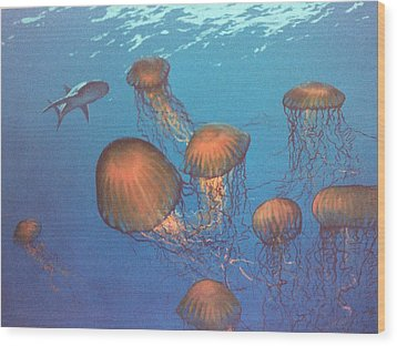 Jellyfish And Mr. Bones Wood Print by Philip Fleischer