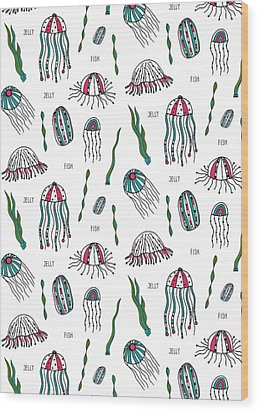 Jellyfish Repeat Print Wood Print by Susan Claire