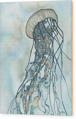 Wood Print featuring the painting Jellyfish Three by Tamara Phillips