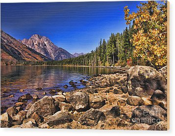 Jenny Lake Wood Print by Clare VanderVeen