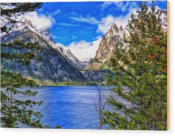Wood Print featuring the painting Jenny Lake by Michael Pickett